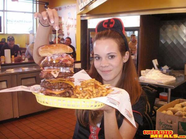 heart attack grill burger. The Quadruple Bypass Burger